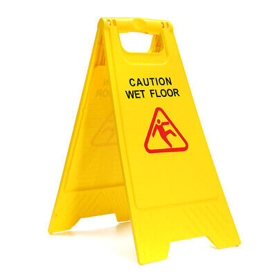 Wet Floor Safety Sign Warning Caution Cleaning Slippery Both Sides Bright Yellow