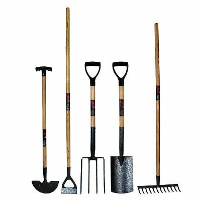 Simpa® 5PC Garden Tool Sets - Spade, Fork, Rake, How & Edging Iron
