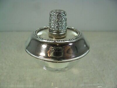 Combined Solid Silver & Glass Table Lighter Ashtray with Thimble Cover