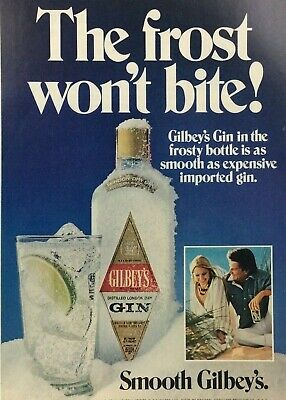 """Gilbey's Gin """"The frost won't bite!"""" circa 1970s Print Ad GLASS ICE LIME SNOW"""