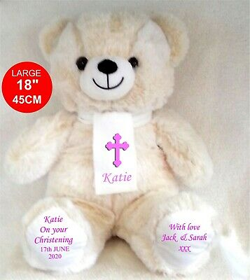 Personalised Teddy Bear Beige Exclusive 45Cm Top To Toe New Born Christening
