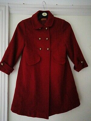 Girls Red Smart Mayoral Coat Double Breasted Age 6