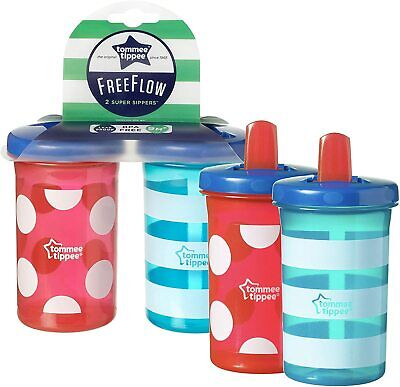 Tommee Tippee Free Flow Super Sippers Pack Of 4- 300Ml - 9 Months+