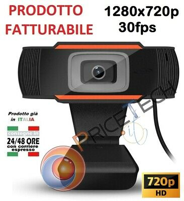 Webcam Con Microfono Usb 2.0 X Pc Videocamera 720P Chiamate Zoom Skype Camera