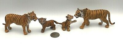 Schleich ORANGE TIGER FAMILY Male Female & Cubs Wildlife Figures 2007 Retired