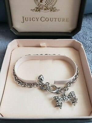 Juicy couture charm bracelet with bow and heart charm NIB