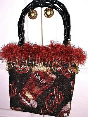 Vintage Coca-Cola Tapestry Hand Bag with Beaded Tassel Fringed Trim