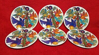 Set of 6 Villeroy & Boch Acapulco Salad Plates Dessert Plates Colorful Birds