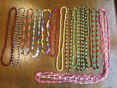 Vtg Mardi Gras Beads Necklaces Glass + Plastic Lot Of 14 To Go New Orleans Craft