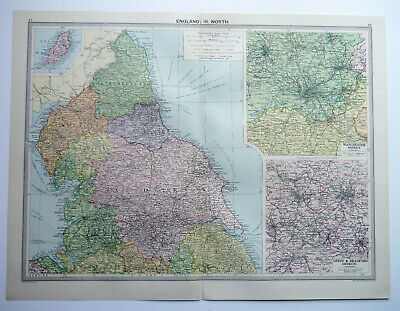 Map Of England North Manchester Leeds York 1930 Antique Large George Philip