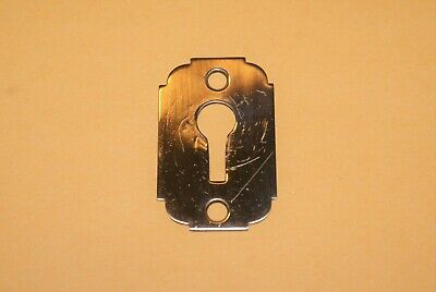 Antique Victorian Solid Brass Skeleton Key Hole Escutcheon Plate Cover Reclaimed