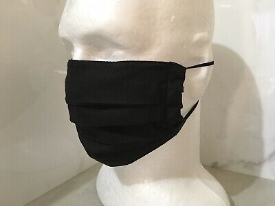 Black Cotton Washable face mask with nose wire and replacement filters