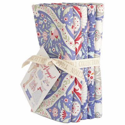 Bon Voyage Bundle of 5 cotton fat quarter fabrics by Tilda. Blue, floral.