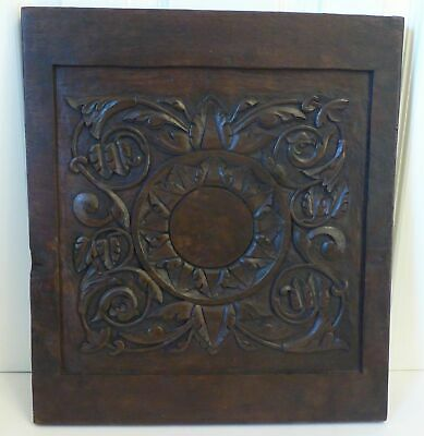 19th Century English Hand Carved Oak Panel Art Nouveau Styleing