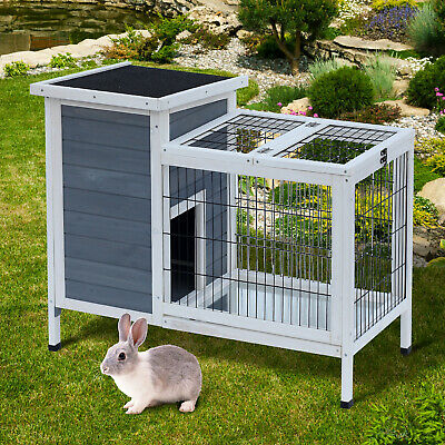 Backyard Rabbit Pen Chicken Coop Wooden Playpen Small Critter Cage Outdoor Hutch