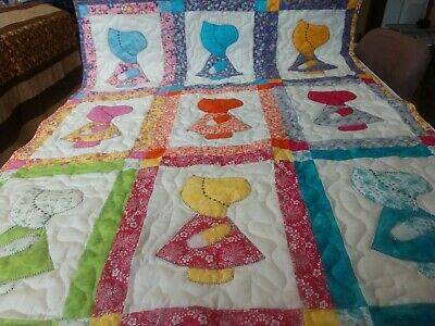 Handmade Applique Sunbonnet Sue Dutch Girl Baby Crib Lop Throw Quilt Blanket