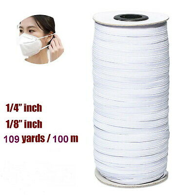 Knitted Elastic Trim White 1/4'' 1/8'' inch for DIY Face Breath Protection 100M