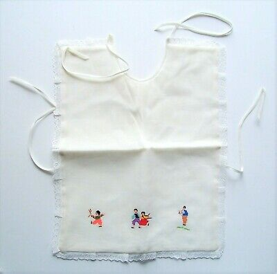 vintage Baby Bib Embroidered & Trimmed With Lace