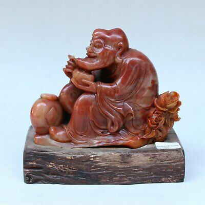 Chinese Exquisite Hand carved Lohan carving Shoushan Stone statue