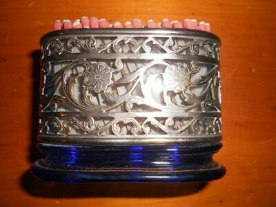 Blue glass and silver match holder antique vintage floral art noveau