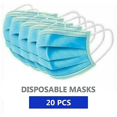 20 PCS Face Mask Medical Surgical Dental Disposable 3-Ply Earloop Mouth Cover