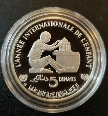 MORUZZI - Tunisia 5 DINARS 1982 (124350) Year of the Child SILVER PROOF