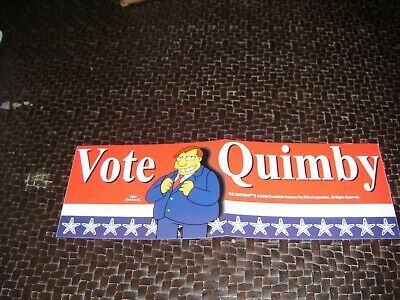 """Simpsons Bumper Sticker Decal """"Vote Quimby """" Free Shipping"""