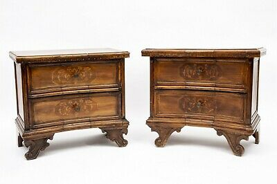 PAIR ANTIQUE FRENCH PROVINCIAL MARQUETRY WOODEN BED SIDE NIGHT TABLES - SET of 2