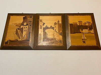 Marquetry Italian Inlaid Wood Picture Trio
