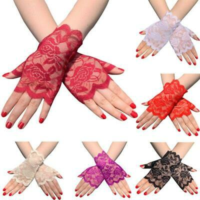 Women Summer Floral Lace Fingerless Gloves UV Sun Protection Driving Mittens