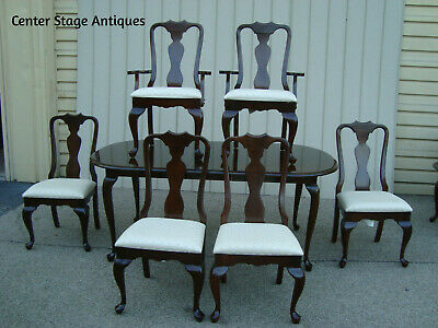 60413 KINCAID CRANSTON Queen Anne Dining Table w/ 1 leaf +  6 Chairs