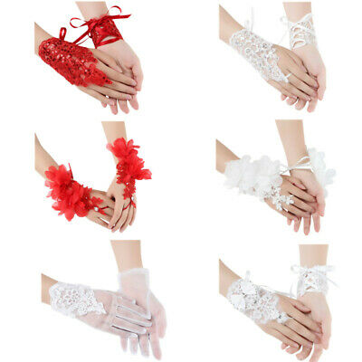 1 Pair Women Floral Lace Embroidered Short Gloves W/Straps For Bridal Wedding