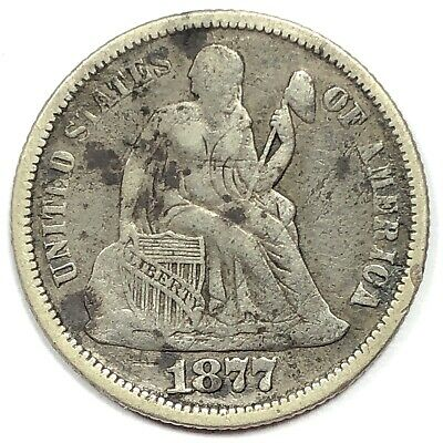 1877 United States Silver Seated Liberty Dime - G