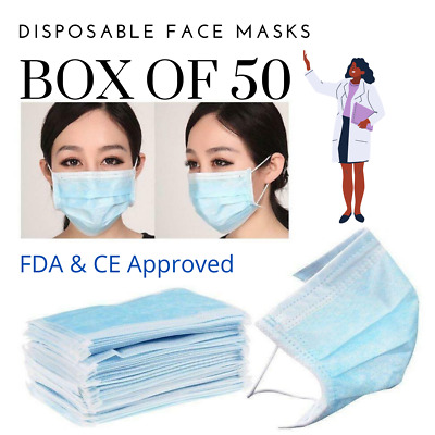 US STOCK New Face Gear Triple Layer Protective (5/10/20/50 Pack) FREE SHIPPING