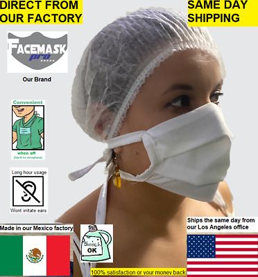 Face Mask Reusable Washable Facemask 100% Cotton with Ties