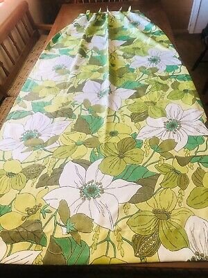Vintage Pair Of Retro Floral Fiberglass Drapes Curtains Pleated