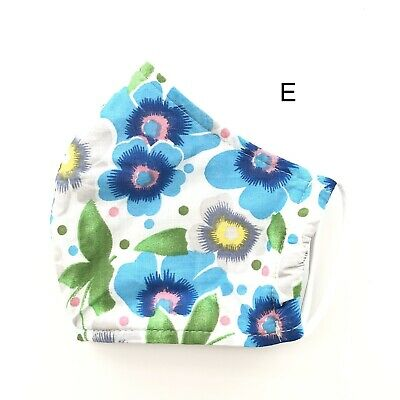 Face Mask Watercolor Floral Cotton Handmade Triple Layered Reusable Washable