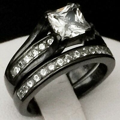 Womens Engagement Wedding Ring Set Stainless Steel Black Ip Plated /Princess Cz