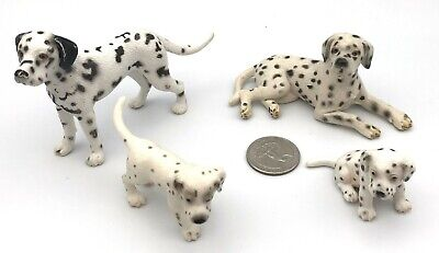 Schleich Dog DALMATIAN FAMILY Male Female 2 Puppies Animal Dog Figures Retired