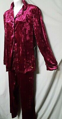 "Tahari Berry Pink Pajama Set Long Sleeve Pant  Velour Size XL  48"" BUST"