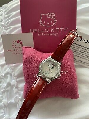 Sanrio Hello Kitty watch with Red Leather Band (diamonique by QVC)
