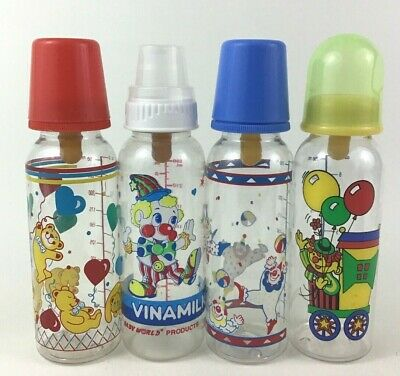 Clowns Primary Color Baby Bottles Complete Feeding Caps Nipples 8oz Vintage 90s