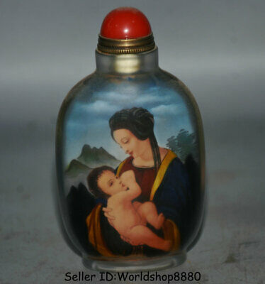 """3.8"""" Old China Glass Inside Painting Beauty Woman Baby snuff box snuff bottle A2"""