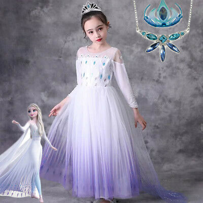 2019 New Release Girls Frozen 2 Elsa White Costume Dress with Cape size 2-10Yrs