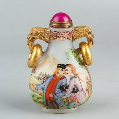 Chinese Exquisite Handmade character Glass snuff bottle