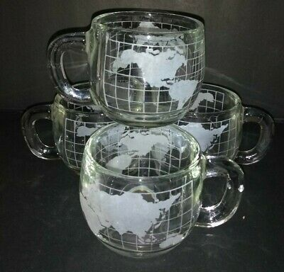 4 VINTAGE Nestle Nescafe Etched Clear Glass World Globe Coffee Mugs EXCELLENT