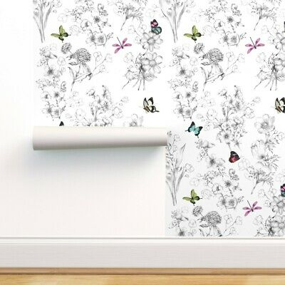 Peel-and-Stick Removable Wallpaper Butterfly Butterflies Sketch Black And White
