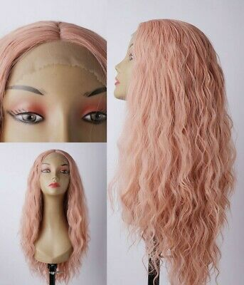 AU 24inch Synthetic fiber Lace front wigs Long Curly Wavy Smoke Pink Handtied