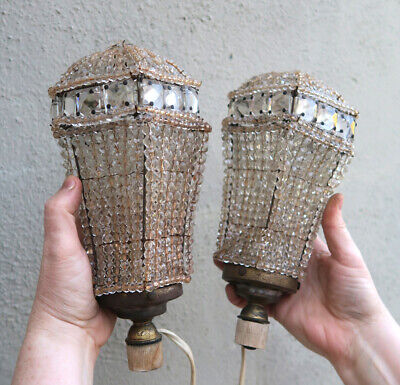 2 Jeweled Antique Czech Vintage Sconces clear glass Beaded shade parts very old