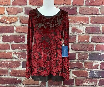 Simply Vera Wang Womens Red Velour Long Sleeve Dress Shirt Top Blouse Size Small